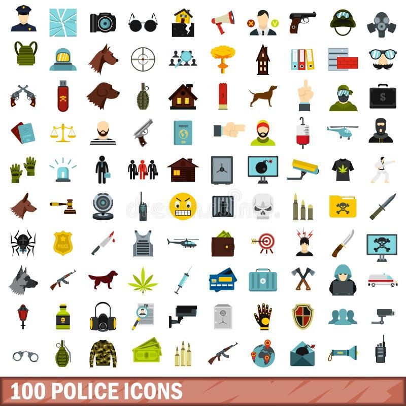 100 установленных значков, плоский стиль полиции иллюстрация штока