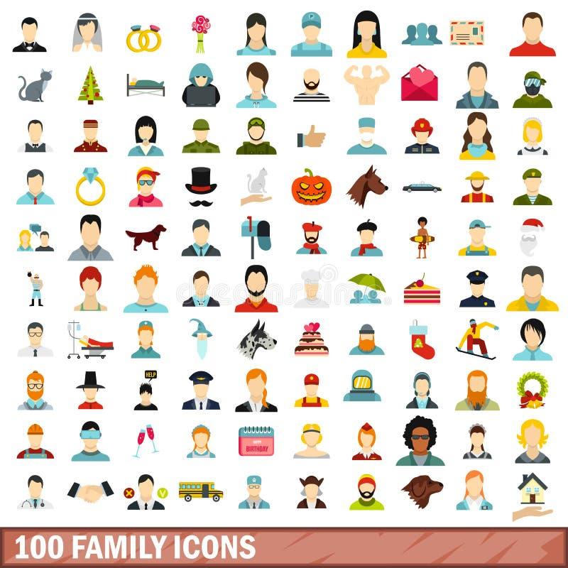 100 установленных значков, плоский стиль семьи иллюстрация вектора
