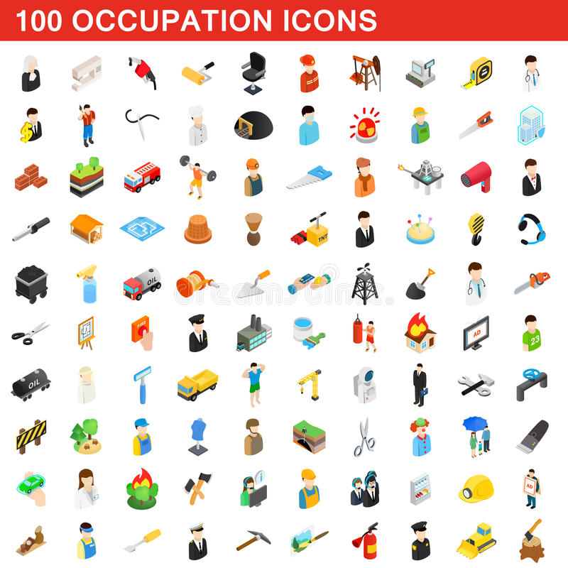 100 установленных значков, равновеликий занятия стиль 3d иллюстрация штока