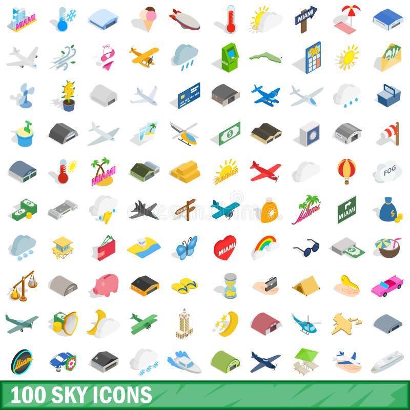100 установленных значков, равновеликий неба стиль 3d иллюстрация вектора