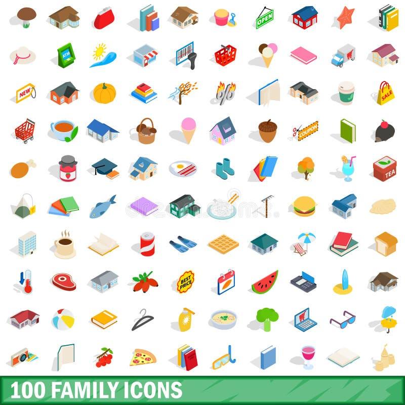 100 установленных значков, равновеликий семьи стиль 3d иллюстрация штока