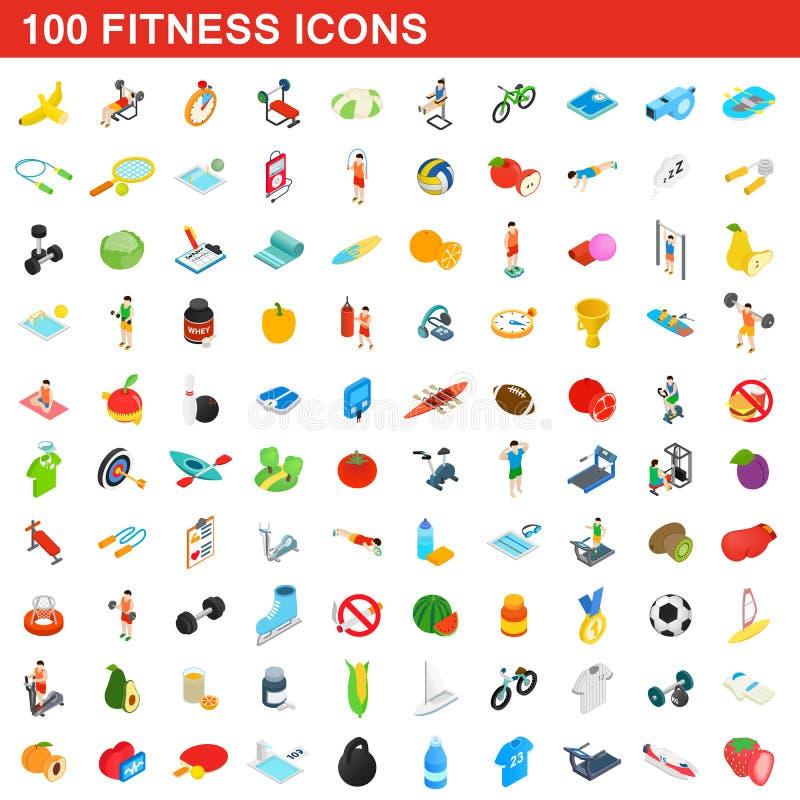 100 установленных значков, равновеликий фитнеса стиль 3d иллюстрация вектора