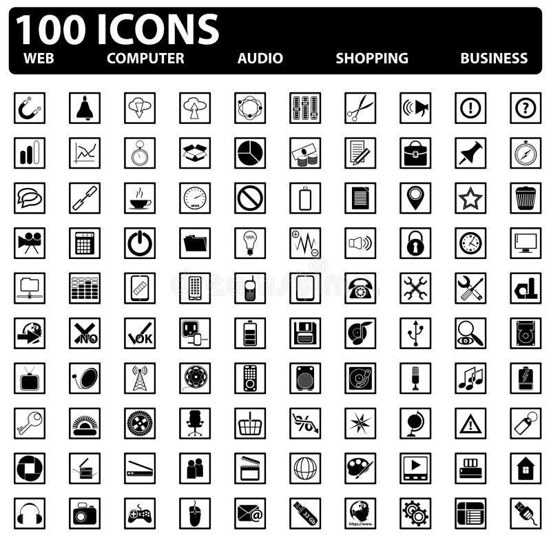 100 установленных значков сеты вектора. Сета, компьютер, дело, ходя по магазинам бесплатная иллюстрация