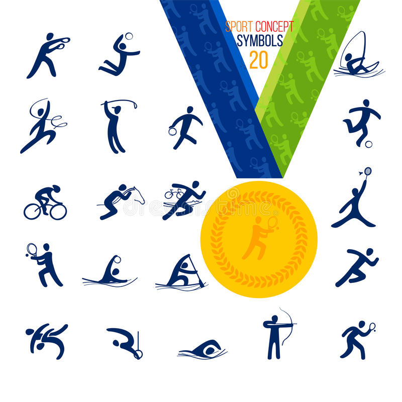 20 установленных значков спорт Воссоздание концепции спорта символа иллюстрация вектора