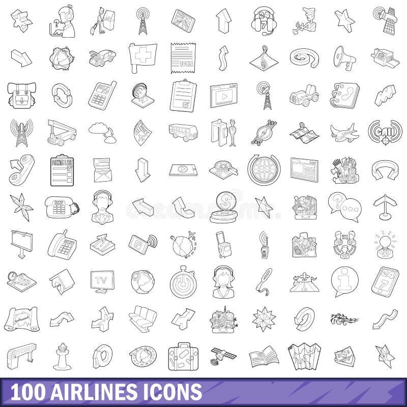 100 установленных значков, стиль авиакомпаний плана иллюстрация вектора
