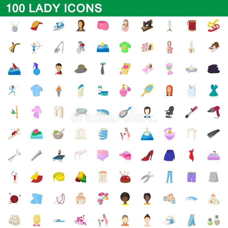 100 установленных значков, стиль дамы шаржа иллюстрация вектора