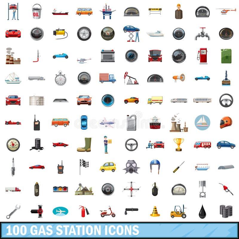 100 установленных значков, стиль бензоколонки шаржа бесплатная иллюстрация