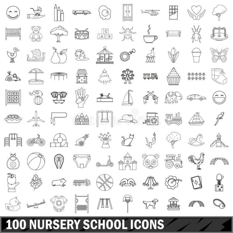 100 установленных значков, стиль детского сада плана иллюстрация вектора