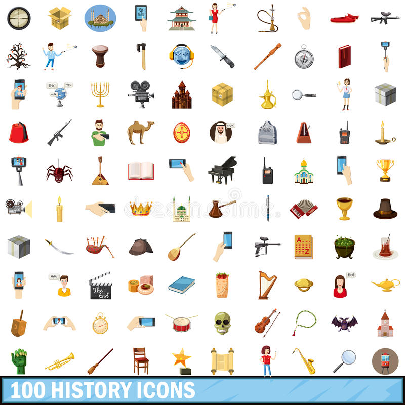 100 установленных значков, стиль истории шаржа бесплатная иллюстрация