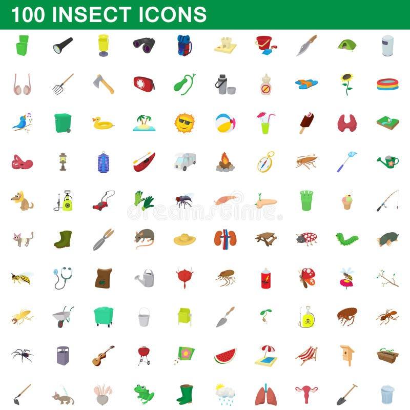100 установленных значков, стиль насекомого шаржа иллюстрация вектора