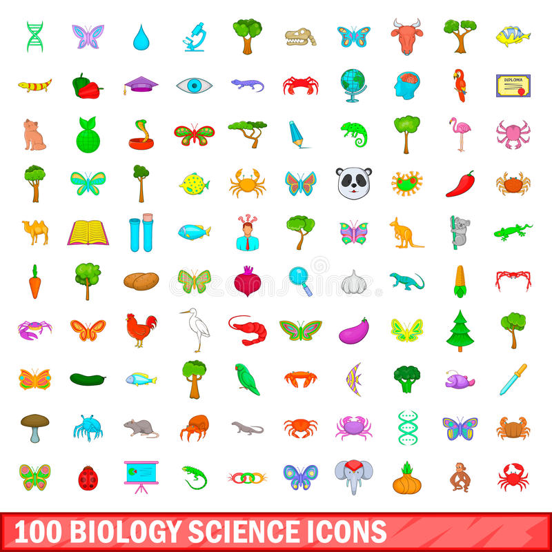 100 установленных значков, стиль науки биологии шаржа иллюстрация штока