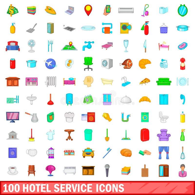 100 установленных значков, стиль обслуживания гостиницы шаржа иллюстрация вектора