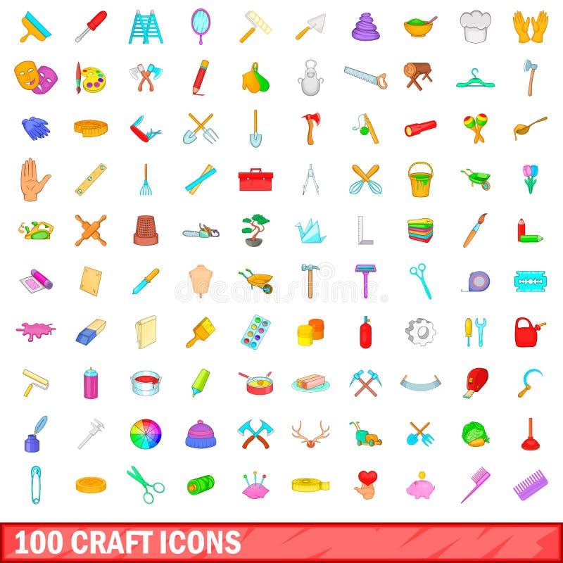 100 установленных значков, стиль ремесла шаржа иллюстрация штока