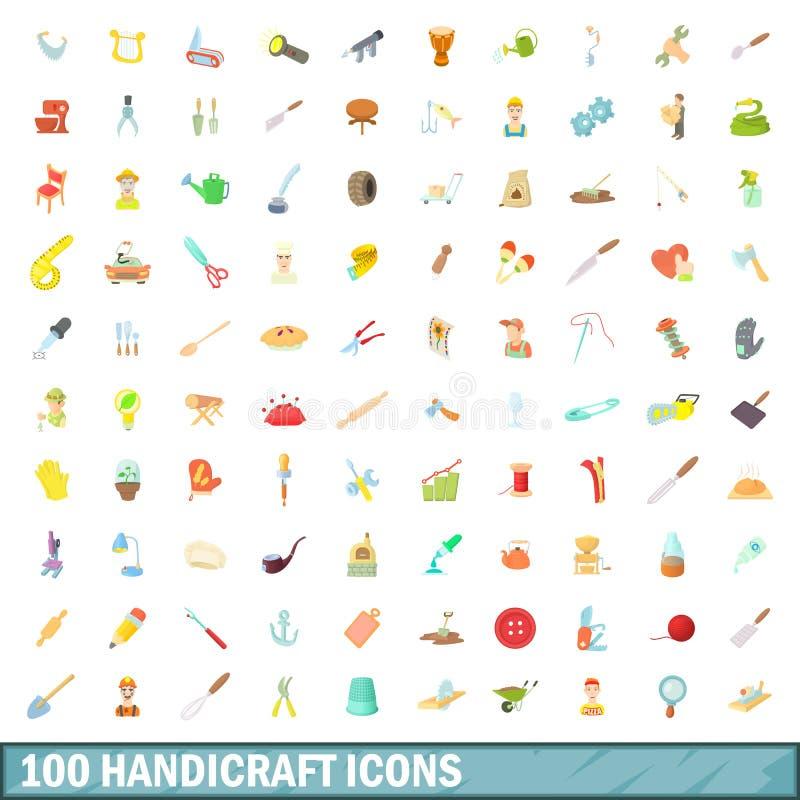 100 установленных значков, стиль ремесленничества шаржа иллюстрация штока
