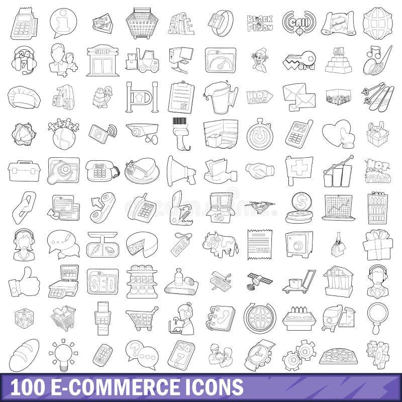 100 установленных значков, стиль ecommerce плана бесплатная иллюстрация