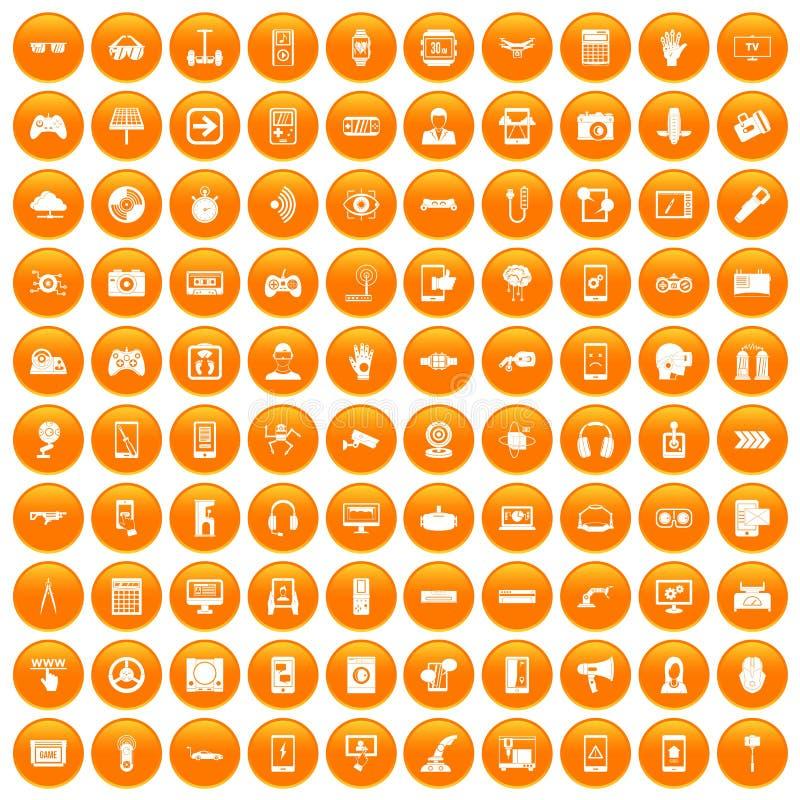100 установленных значков устройства оранжевыми иллюстрация вектора