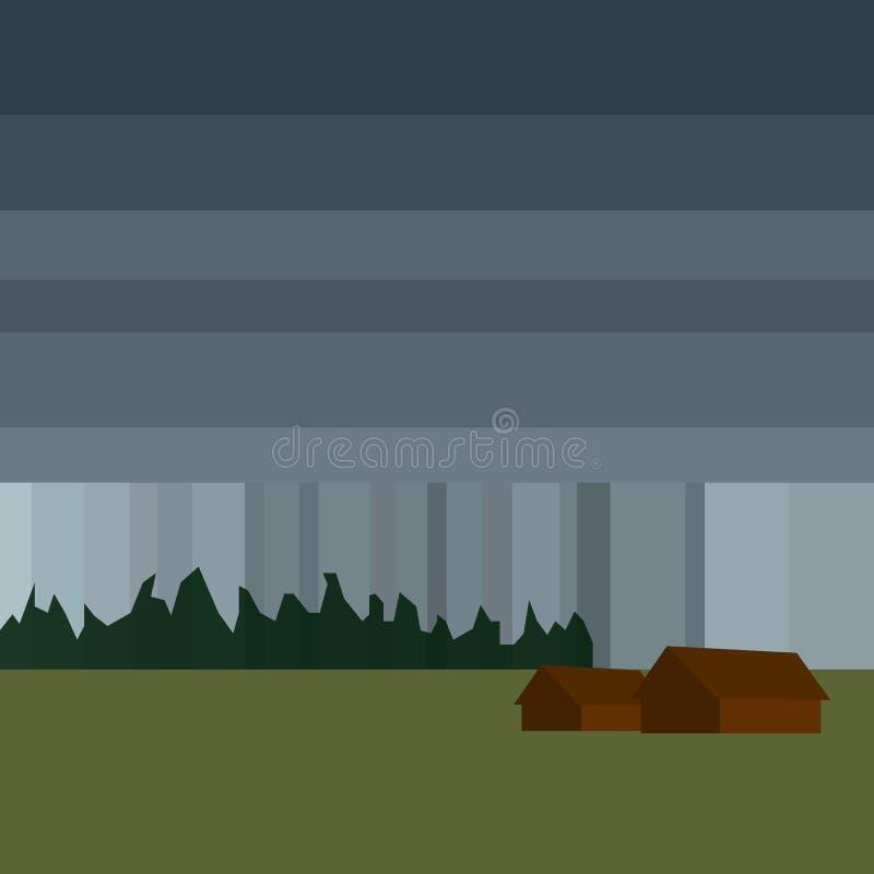 Устарелые и покинутые старые амбары в дожде, минимализме Иллюстрация вектора ландшафта шаржа плоская иллюстрация штока