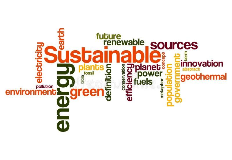 Устойчивая зеленая предпосылка облака слова концепции энергии бесплатная иллюстрация