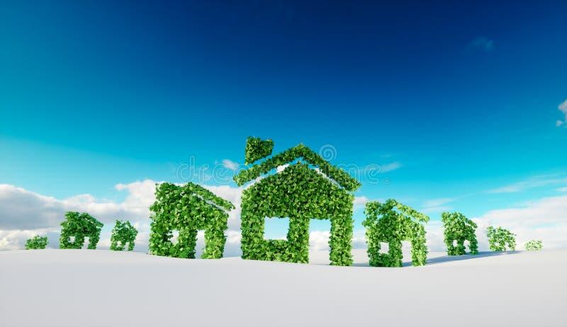 Устойчивая концепция деревни eco перевод 3d символов дома иллюстрация вектора