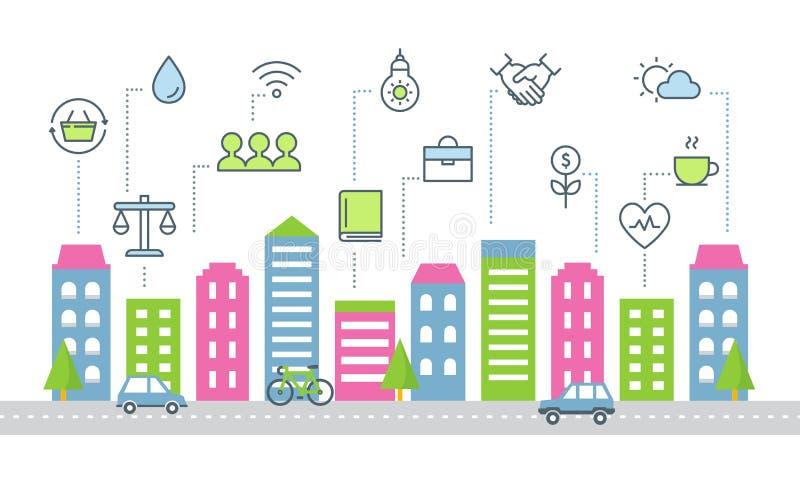 Устойчивое и сбалансированное развитие и умная иллюстрация вектора города иллюстрация вектора