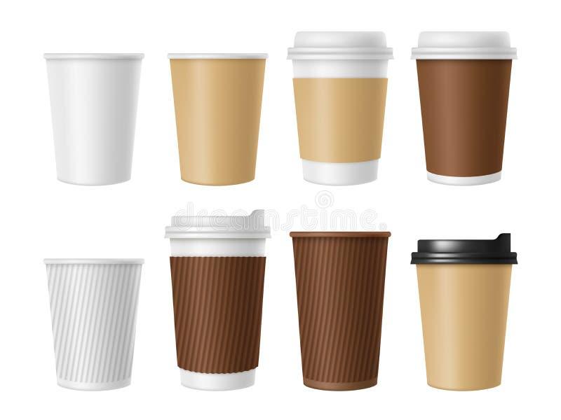 Устранимая кофейная чашка Пустой шаблон вектора горячей кружки белой бумаги кофе Реалистические иллюстрации кофейной чашки 3D иллюстрация вектора