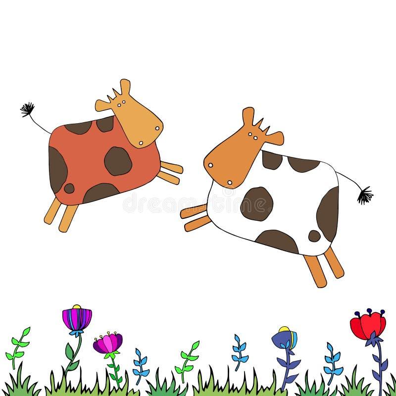 Устрашайте млекопитающее шаржа скотин иллюстрации животного молокозавода фермы вектора бесплатная иллюстрация