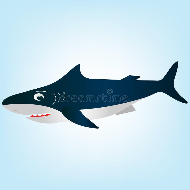 Устрашенная, удивленная белая акула шаржа бесплатная иллюстрация