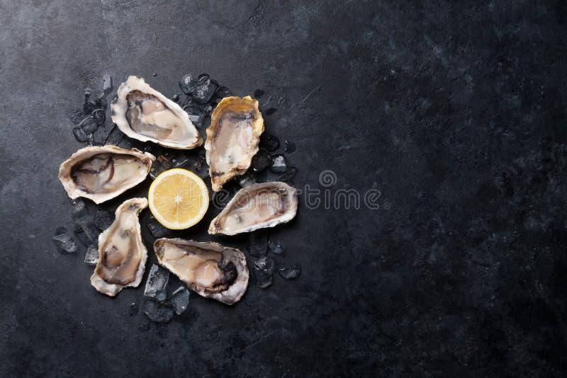 Устрицы и лимон стоковые фото