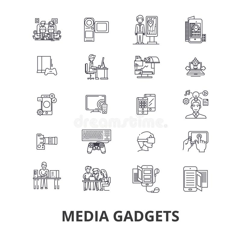 Устройства средств массовой информации, газета, новости, пресса, социальная реклама, ТВ, видео, линия значки блокнота Editable хо иллюстрация вектора