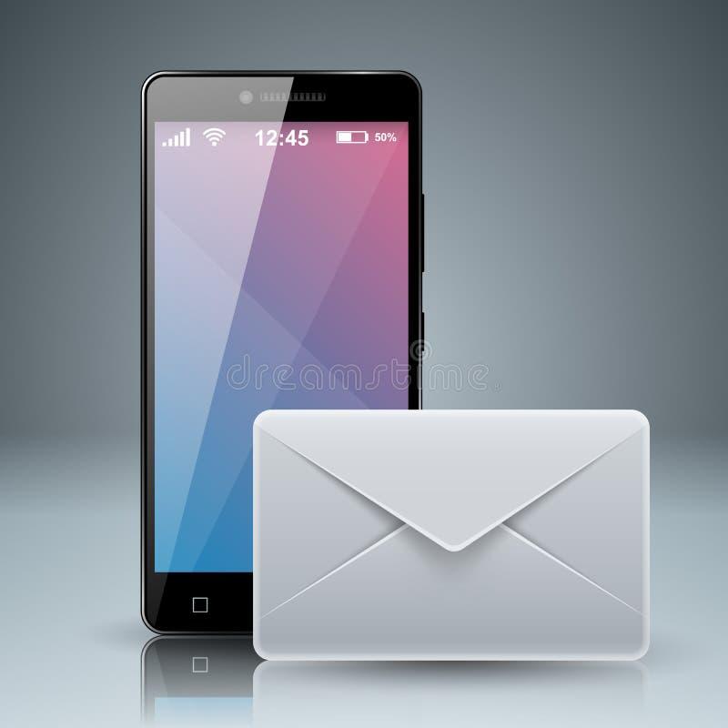 Устройство цифров, таблица smartphone, tmail, электронная почта, значок конверта B иллюстрация вектора