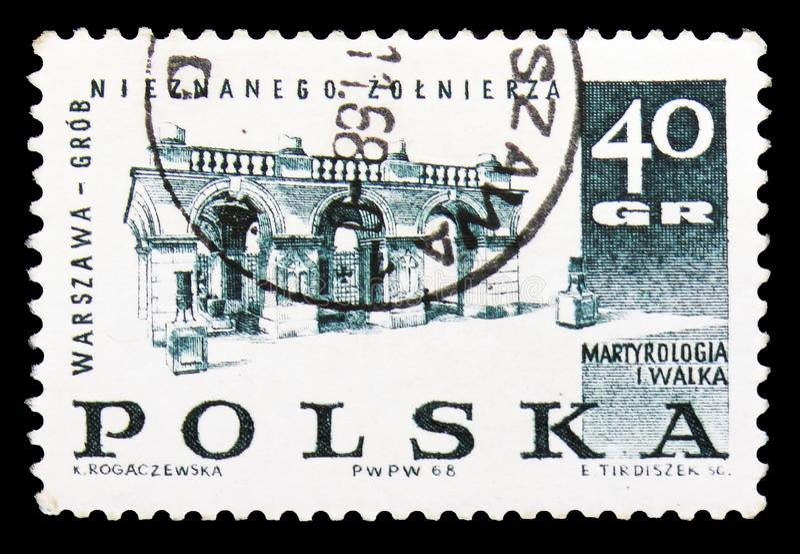 Усыпальница неизвестного солдата, Варшавы, схватки и мученичества польских людей, serie 1939-45, около 1968 стоковая фотография