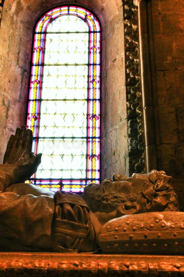 Усыпальница Camoes в Santa Maria de Belem в Лиссабоне стоковые изображения rf