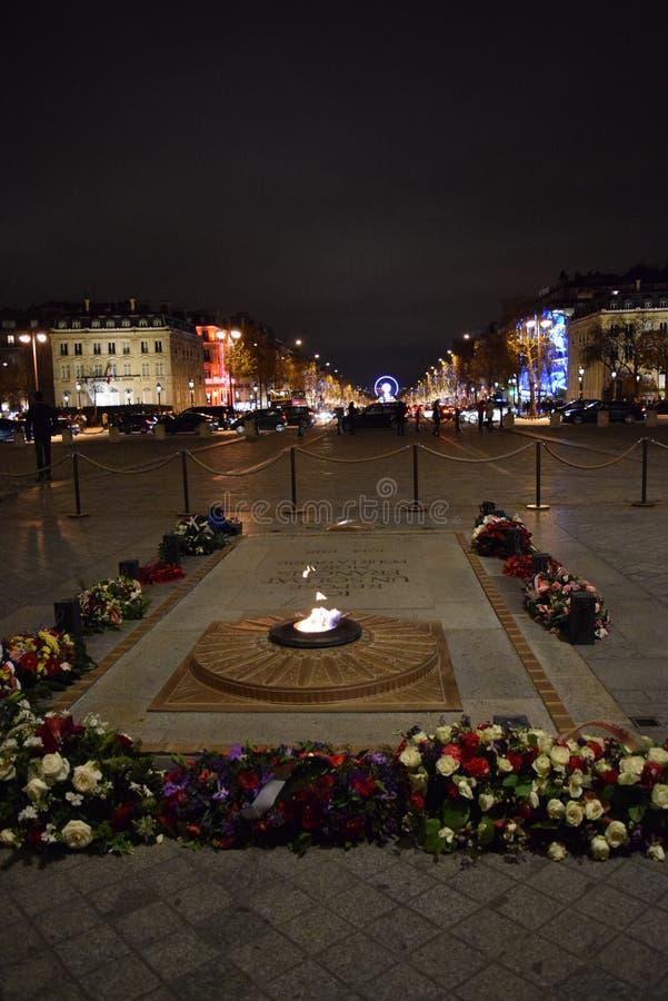 Усыпальница неизвестного солдата, Триумфальная Арка, Париж, дуга в декабре стоковые фото