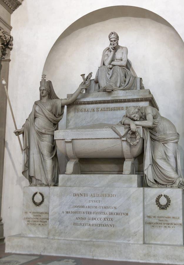Усыпальница Dante в di Santa Croce базилики, Флоренсе стоковые изображения