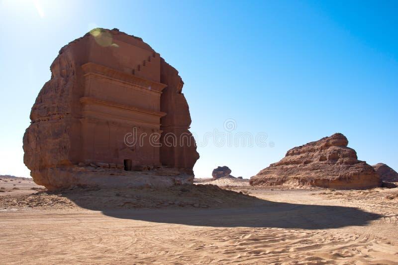 Усыпальница Madain Saleh Farid al Qasr в Саудовской Аравии стоковое изображение rf