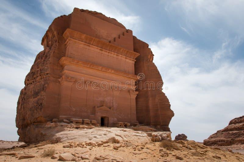 Усыпальница Nabatean в месте Madaîn Saleh археологическом, Саудовской Аравии стоковые изображения