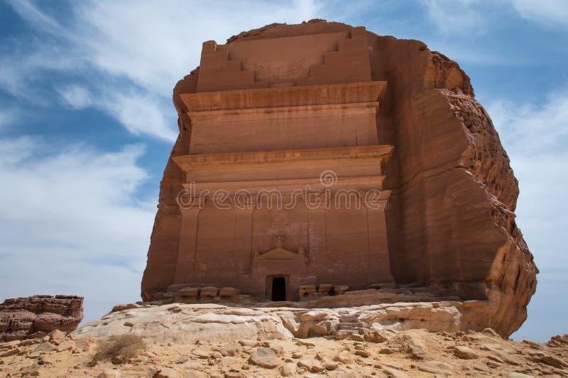 Усыпальница Nabatean в месте Madaîn Saleh археологическом, Саудовской Аравии стоковые фотографии rf