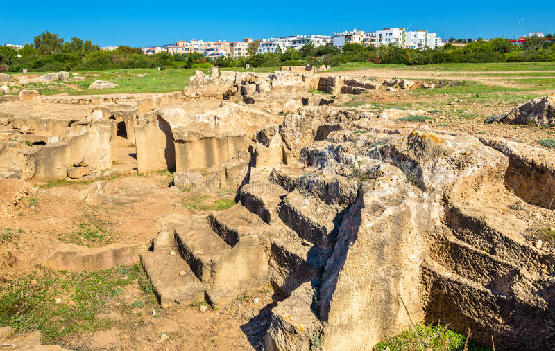 Усыпальницы королей, старого некрополя в Paphos стоковые фото