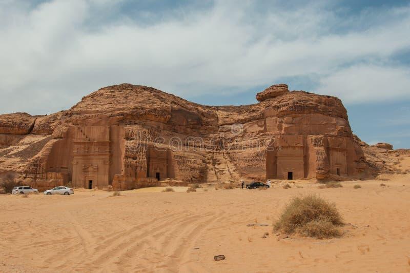 Усыпальницы Nabatean в месте Madaîn Saleh археологическом, Саудовской Аравии стоковые изображения rf