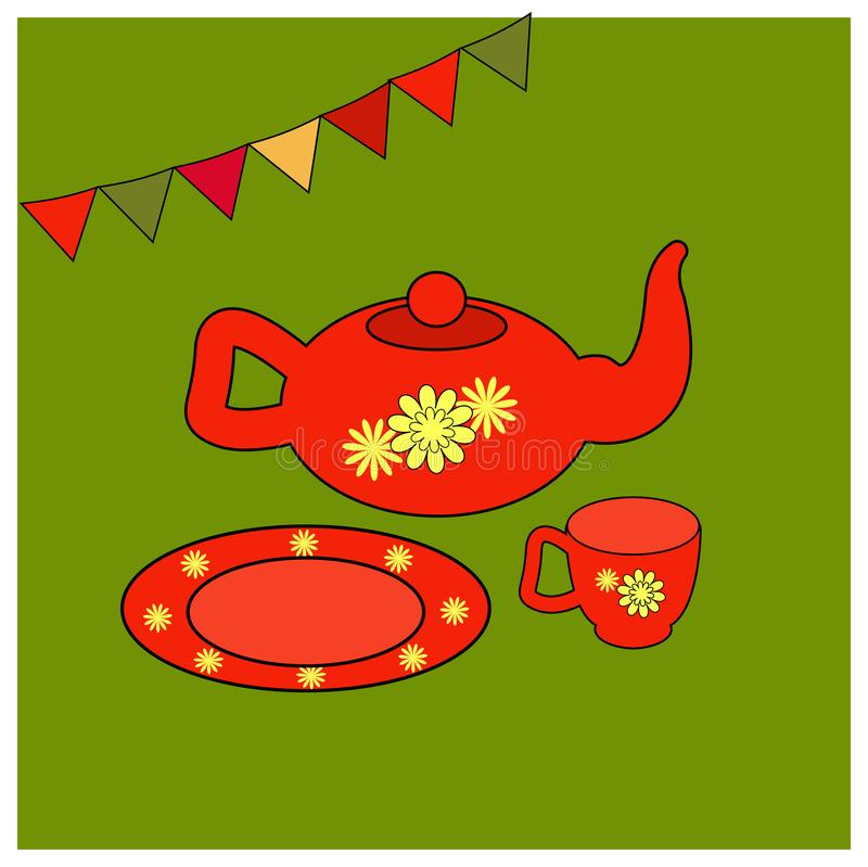 Утвари для чая чайник, чашка и поддонник иллюстрации вектора красные с флористическим желтым орнаментом kitchenware для бесплатная иллюстрация