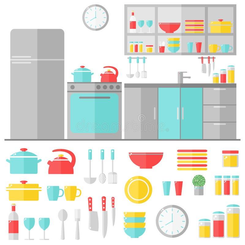 Утвари кухни внутренние и варя на белой предпосылке иллюстрация вектора