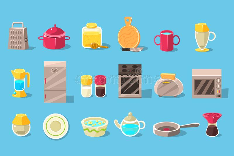 Утвари кухни и комплект приборов большой, варя элементы vector иллюстрация иллюстрация вектора