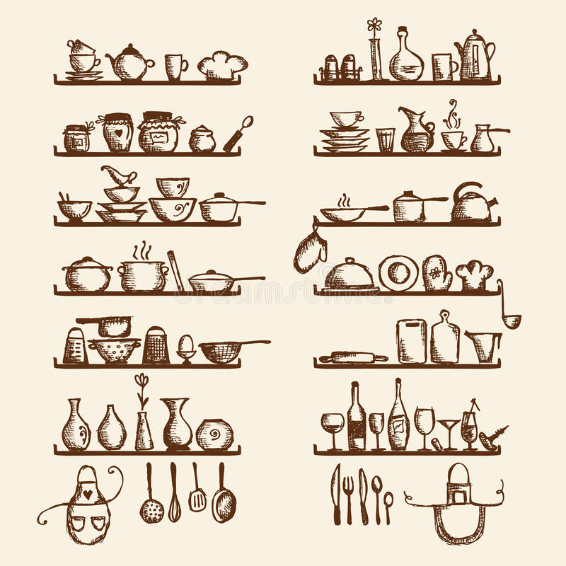 Утвари кухни на полках, чертеже эскиза иллюстрация штока