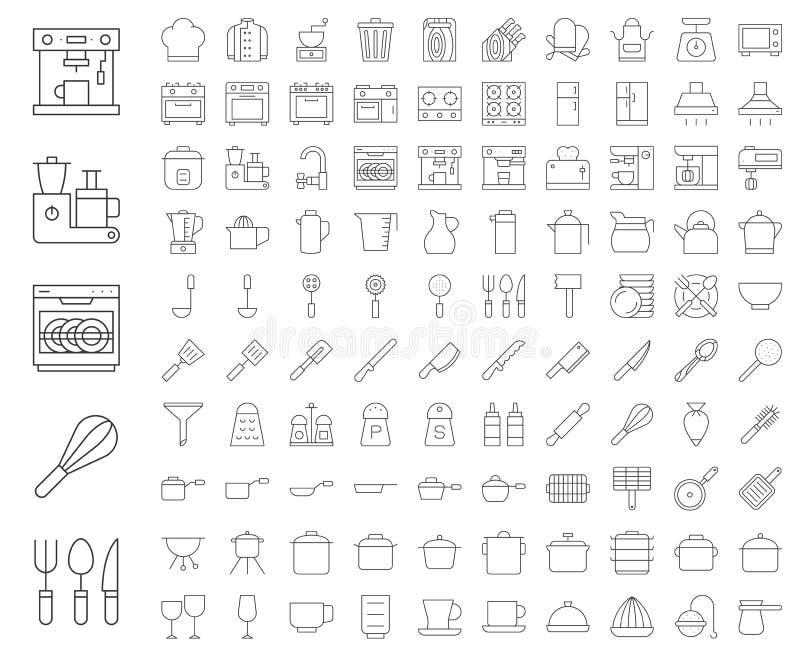 Утвари кухни, оборудования хлебопекарни, форма шеф-повара и домашнее appli бесплатная иллюстрация