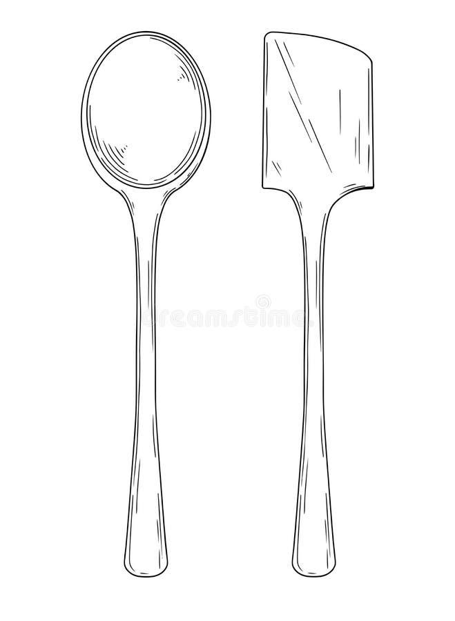 Утвари кухни Различными изолированная ложками иллюстрация вектора на белой предпосылке иллюстрация штока