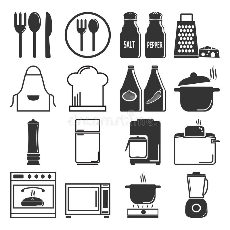 Утварь, иллюстрация значка kitchenware установленная бесплатная иллюстрация