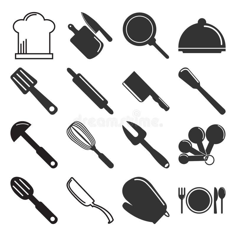 Утварь, иллюстрация значка kitchenware установленная иллюстрация штока