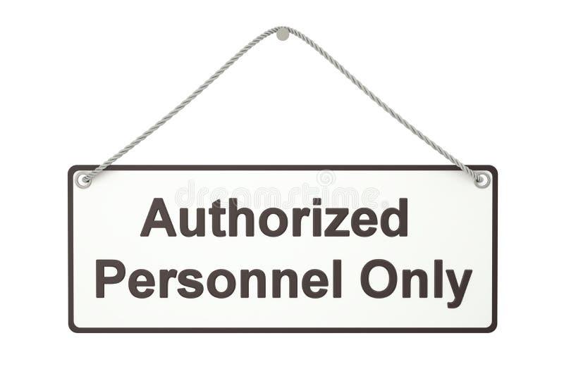 Утвержденный персонал только вися знак, перевод 3D иллюстрация вектора