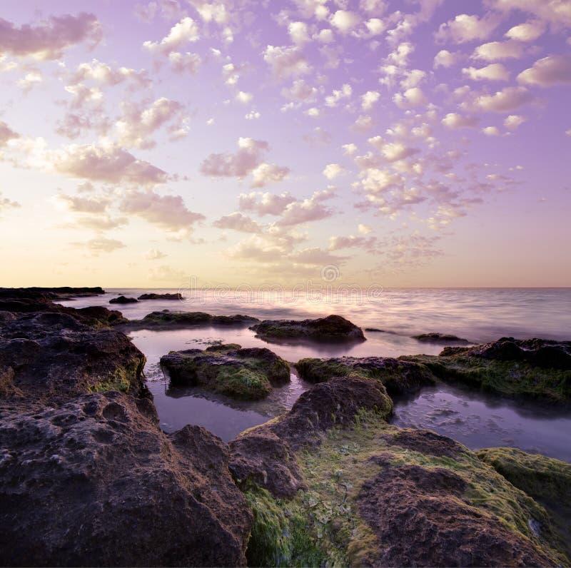 утесистое лагуны пурпуровое стоковое фото