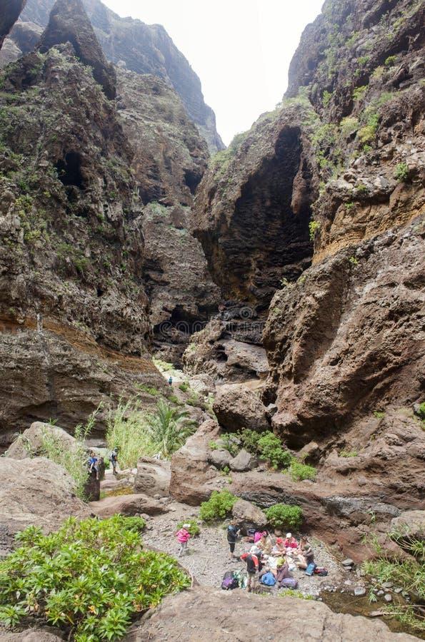 Утесы в ущелье Masca, Тенерифе, показывающ затвердетые вулканические слои лавового потока и образование свода Руководства промоин стоковые изображения rf